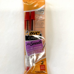 CRISTAL XTRA SMOOTH 2PK PENS RED