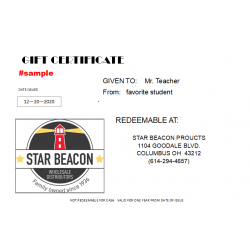 Star Beacon Gift Certificate -    $5