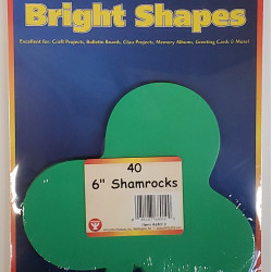 """BRIGHT SHAPES SHAMROCK 60# TEXT ASSORTED COLORS 40CT  5.5"""""""
