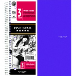 THEMEBOOK SPIRAL FIVE-STAR 3 SUB  WIDE RULED  150 ct.