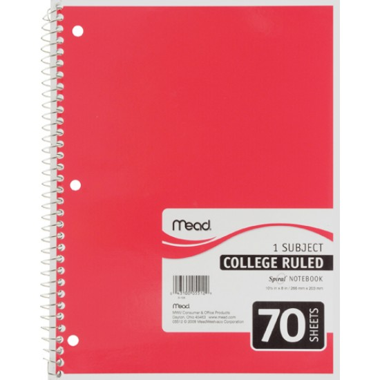 THEMEBOOK SPIRAL 10 1/2 X 8  COLLEGE 70 ct