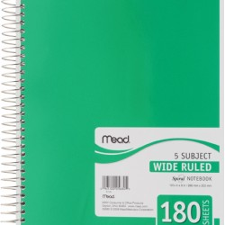 THEMEBOOK SPIRAL 5 SUBJECT  WIDE   180 CT.