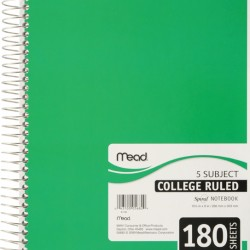 THEMEBOOK SPIRAL 5 SUBJECT  COLLEGE   180 ct.