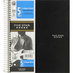 THEMEBOOK SPIRAL FIVE-STAR 5 SUB 200 CT. COLLEGE RULED