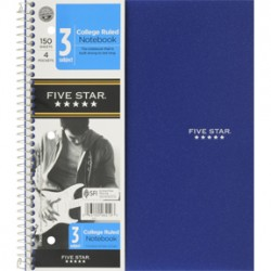 THEMEBOOK SPIRAL FIVE-STAR 3 SUBJECT  COLLEGE RULED 150 ct.
