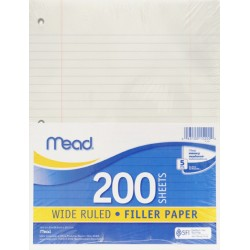 NOTEBOOK FILLER PAPER   WIDE       200 ct.