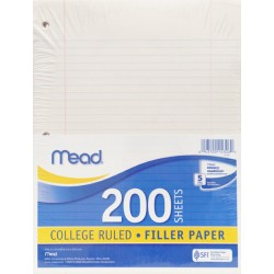 FILLER PAPER   COLLEGE RULED   200 ct.