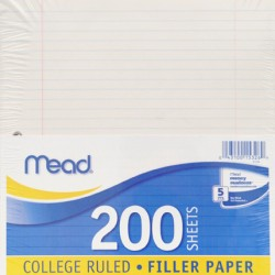NOTEBOOK FILLER PAPER   COLLEGE     200 ct.