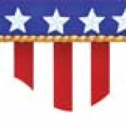 DECO TRIM STRIPS SCALLOPED 37' AMERICAN FLAGS - ELECTORIAL EUREKA