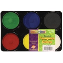 PAINT TEMPERA CAKES ASSORTMENT 6 ct
