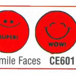 STAMP RUBBER GRADING STAMPS 6ct SMILEY FACE CE601