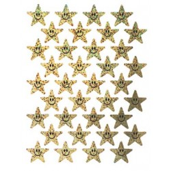 STICKERS SPARKLE  SMILING STARS GOLD 72ct EUREKA