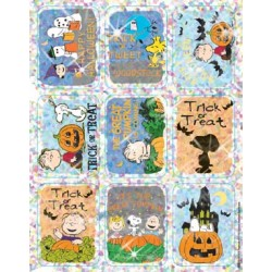 STICKERS SPARKLE PEANUTS HALLOWEEN 18ct  EUREKA