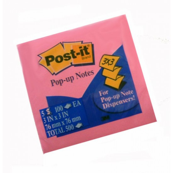 NOTE PAD POST-IT POP UP 3 X 3 REFILLS 5-100 ct PADS/PK NEON