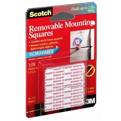 MOUNTING SQUARES SCOTCH REMOVABLE FOAM  16ct. #108