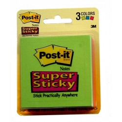 "NOTE PAD POST-IT SUPER STICKY 3"" X 3"" ULTRA 3 PACK 3321-SSAU"