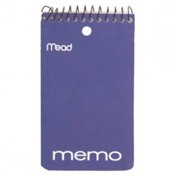 "MEMO BOOK WIRE BOUND 3"" X 5""  TOP SPIRAL  60CT MEAD"