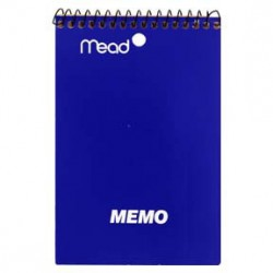 "MEMO BOOK WIRE BOUND 4"" X 6""  TOP SPIRAL 40CT MEAD"