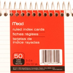 """INDEX CARDS 3""""X5"""" RULED SPIRAL  50CT MEAD"""