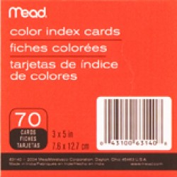 """INDEX CARDS 3""""X5"""" COLORED  70 CT. MEAD"""