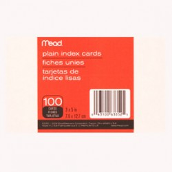 """INDEX CARDS 3""""x5"""" UNRULED WHITE 100ct. MEAD"""