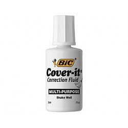CORRECTION FLUID BIC COVER-IT 20 ml (.7oz)  PACKED IN 12'S