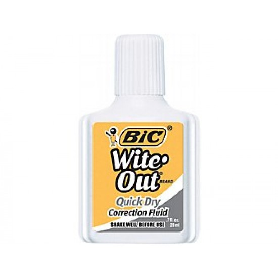CORRECTION FLUID BIC WITE-OUT W/ FOAM APPLICATOR .7oz