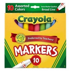 MARKERS CRAYOLA ASSORTED COLORS  BROAD 10ct (WAS TECHNO)