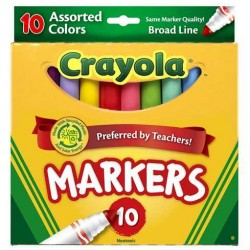 MARKERS CRAYOLA ASSORTED COLORS  BROAD 10ct