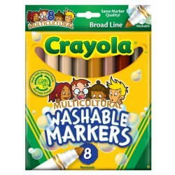 MARKERS CRAYOLA MULTICULTURAL WASHABLE  8's