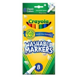 MARKERS CRAYOLA WASHABLE CLASSIC  THIN  8's