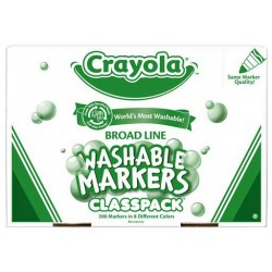 MARKERS CRAYOLA CLASSPACK WASHABLE 8 COLORS 200 ct