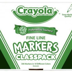 MARKERS CRAYOLA CLASSPACK FINE TIP 10  COLORS 200CT
