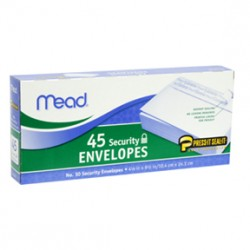 "ENVELOPES MEAD PRESS N' SEAL  10"" SECURITY 45 ct."