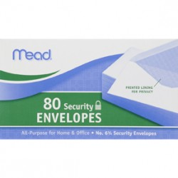 "ENVELOPES MEAD BOXED SECURITY  6 1/2""  80ct"