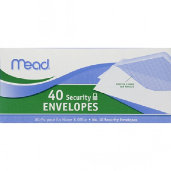 """ENVELOPES MEAD BOXED SECURITY   10""""  40ct"""