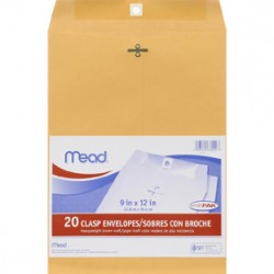"ENVELOPES CLASP KRAFT COLOR  MEAD 9"" X 12""  20 ct"