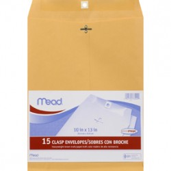 "ENVELOPES CLASP KRAFT COLOR  MEAD 10"" X 13""  15 ct"