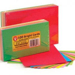 "BRIGHT CARDS 3"" X 5"" 20 EACH OF 5 HOT COLORS 100ct"