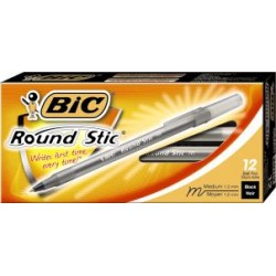 PEN BIC ROUND STICK MEDIUM POINT   BLACK