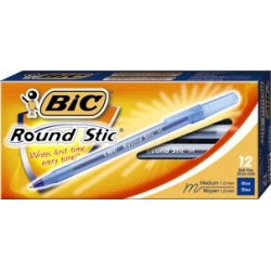 BIC ROUND STIC MEDIUM POINT   BLUE (12/bx)