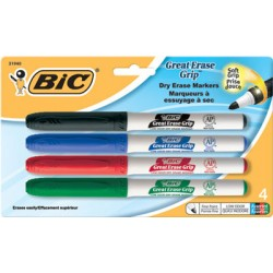 MARKERS DRY ERASE BIC GREAT ERASE 4 PACK SET FINE TIP