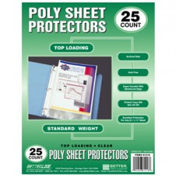 SHEET PROTECTOR TOP LOAD STD WT BETTER OFFICE  25 ct