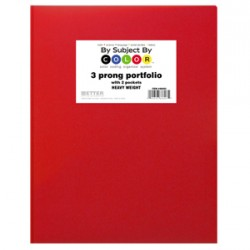 PORTFOLIOS POLY 2 POCKET & PRONGS .35 mm HEAVY WEIGHT RED