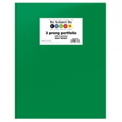 PORTFOLIOS POLY 2 POCKET & PRONGS .35 mm HEAVY WEIGHT GREEN