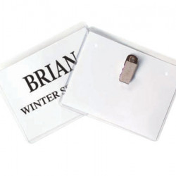 "NAME BADGES PLASTIC WITH CLIP 4"" X 3""  TOP LOADING 50 /BOX"