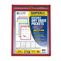 DRY ERASE POCKETS-SHOP TICKET 9 X 12  PRIMARY COLORS 10/PK