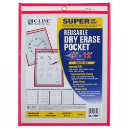 DRY ERASE POCKETS-SHOP TICKET 9 X 12 C-Line  RED
