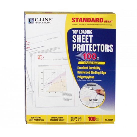 SHEET PROTECTOR TOP LOADING C-LINE   100 ct.