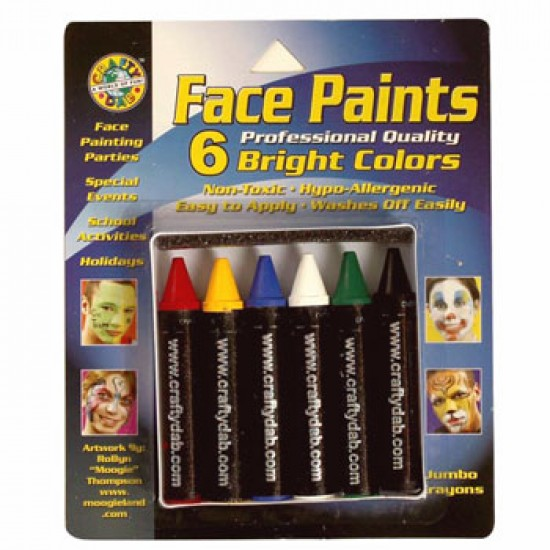 FACE PAINT MAKE UP CRAYONS BRIGHT COLORS 6ct CRAFTY DAB